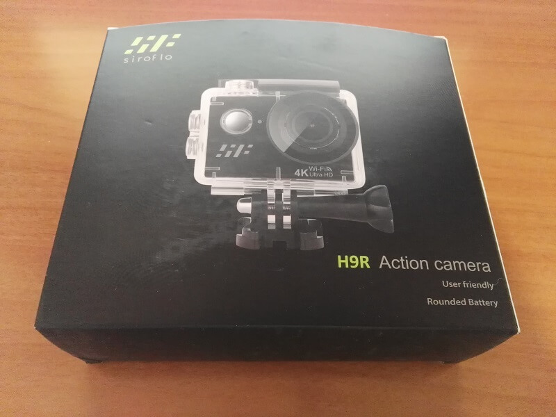 Confezione e scatola della videocamera Siroflo H9R da Amazon