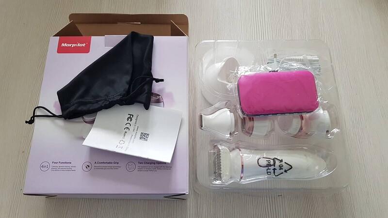 Confezione e contenuto di Morpilot, l'epilatore e rasoio elettrico per donna