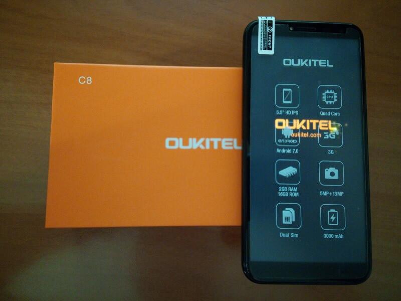 Oukitel C8, quadcore, 2 gb di ram e buona durata della batteria