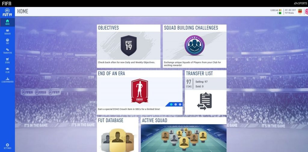 Web App di FIFA 19 Ultimate Team