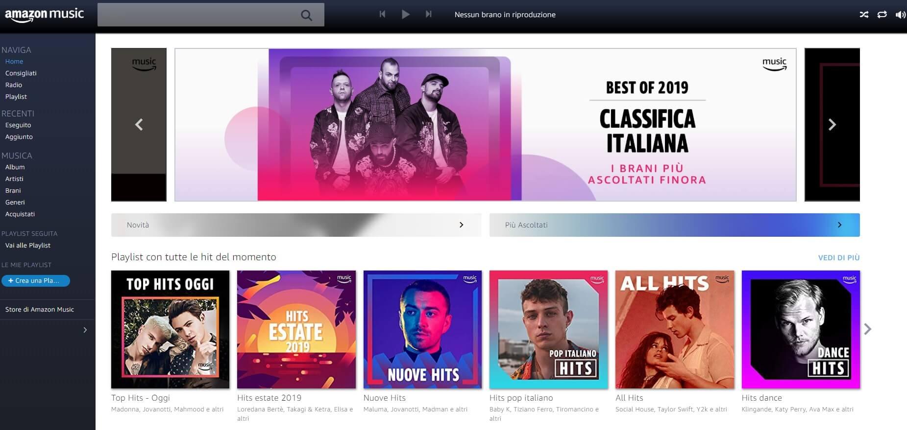 Piattaforma PC di Amazon Music Unlimited