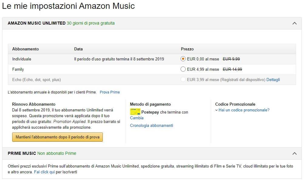 Disattivare il rinnovo dell'abbonamento ad Amazon Music Unlimited